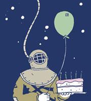 A scuba diver holding a birthday cake and a balloon 11016018102  写真素材・ストックフォト・画像・イラスト素材 アマナイメージズ
