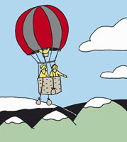 Two People in a hot air balloon