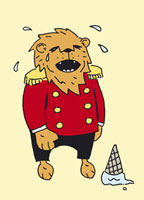 A lion in a uniform crying over a dropped ice cream cone