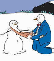 A snowman putting a scarf around another snowman