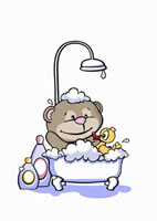 A cartoon bear having a bath
