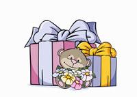 A cartoon bear sitting in front of presents 11016018425| 写真素材・ストックフォト・画像・イラスト素材|アマナイメージズ