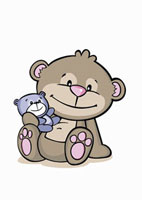 Cartoon of a bear holding a baby bear