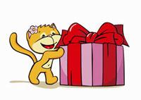 A cartoon cat holding a present