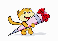 A cartoon cat holding candy on it�fs first day on school