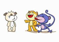 Cartoon characters bullying a friend
