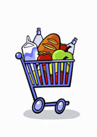 A cartoon shopping trolley full of groceries