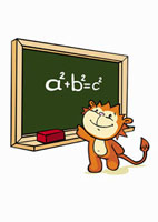 A cartoon tiger standing in front of a blackboard