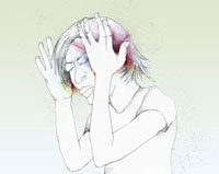 A woman holding her head in pain