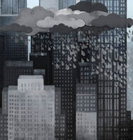 Storm clouds,rain and skyscrapers