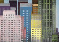 Vibrant colored skyscrapers