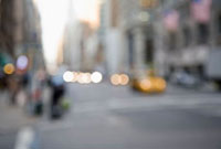 Defocused street scene,Manhattan,New York City,USA