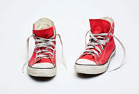 Red canvas high tops