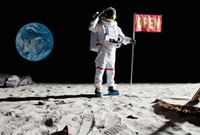 An astronaut on the moon saluting next to a flag with OPEN o