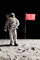 An astronaut on the moon standing next to number 1 hole flag