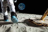 An astronaut walking on the moon, rear view, low section