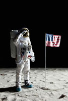 An astronaut on the surface of the moon saluting an American