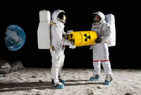Two astronauts on the moon surface carrying a drum of toxic