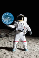 An astronaut on the moon's surface pretending to hold the e