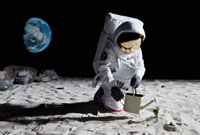 An astronaut gardening on the moon