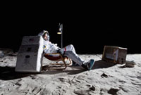 An astronaut on the moon watching television