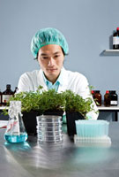 A lab technician staring intently at a plant in a laboratory