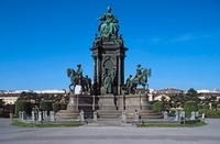 Austria, Vienna, Maria Theresa statue under a clear blue sky