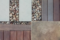 Geometric mix of wood, tile and pebbles