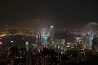 Night cityscape of Hong Kong Island, Hong Kong - China