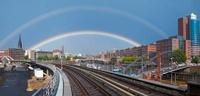 A double rainbow over the city of Hamburg, Germany