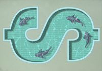 A dollar sign shaped swimming pool with four sharks swimming