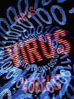 Blue binary code spiraling down onto the word virus repeated