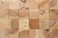 Square shaped wooden blocks arranged into a grid, full frame