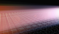 Rows of cubes shapes illuminated by a pink glowing light