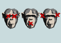 Illustration of three monkeys representing the proverb see no evil, hear no evil, speak no evil 11016026955| 写真素材・ストックフォト・画像・イラスト素材|アマナイメージズ