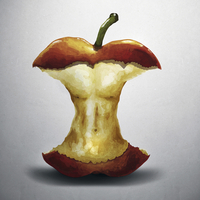 Illustration of apple core with human torso, close-up