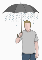 Illustration of man holding umbrella that rain is coming out of