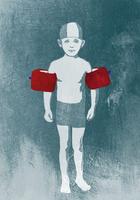 Illustration of a worried looking boy wearing water wings