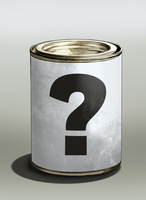 Question mark on tin can