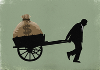 Illustration of businessman carrying dollar bag in cart