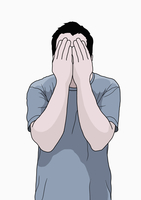Illustration of man covering face with hands