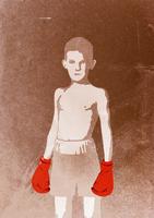 Illustration of boy wearing boxing gloves, portrait