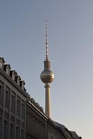 Alexanderplatz Television Tower, behind apartment buildings, Berlin, Germany