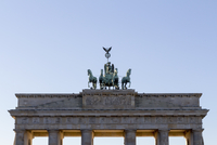High section of Brandenburg Gate against clear sky, Berlin, Germany