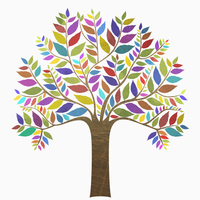 Multi colored tree against white background