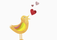 Songbird with heart shapes representing love against white background