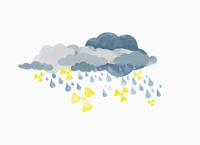 Storm clouds raining drops of water and radioactive symbols, illustration