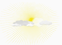Bright sun hiding behind clouds against white background