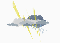 Thunderstorms and clouds against white background