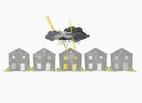 Thunderstorm clouds over house against white background